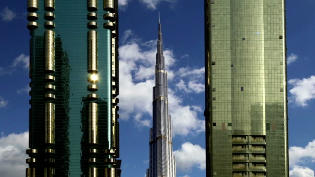 Modern skyscrapers, Sheikh zayed road, Dubai, United Arab Emirates. Dubai is the fastest growing city in the world video
