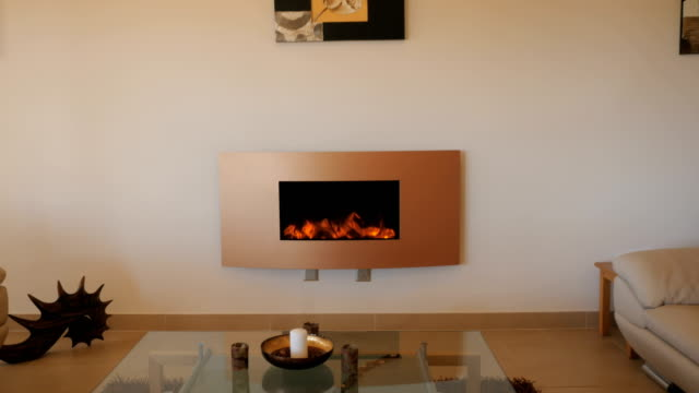 Modern stylish living room with electric fireplace video