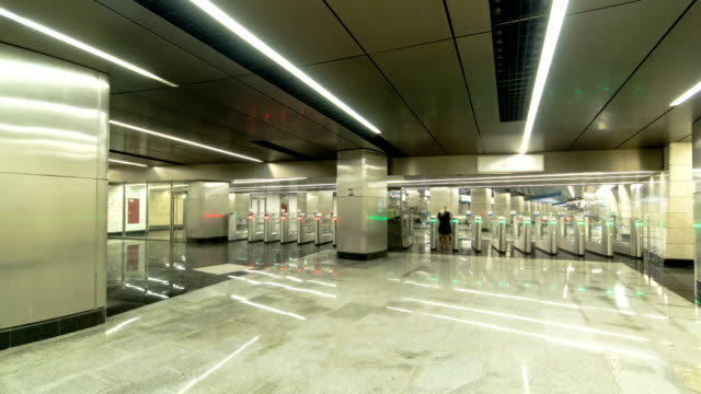 modern subway station Delovoy center, business center timelapse, hyperlapse. Moscow, Russia video