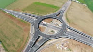 Modern suspended roundabout connecting urban areas , implemented for traffic optimization and improved safety, static aerial view video
