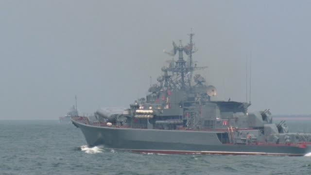 modern warship on the high seas video
