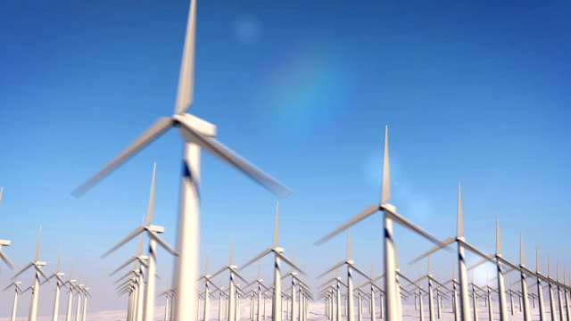 Modern windmill against the blue sky video