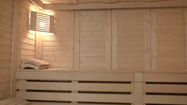 Modern wooden sauna with two benches and two lights video