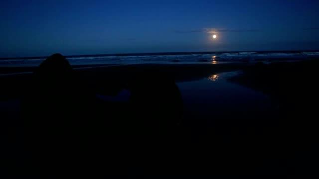 Moeraki boulders at night, moon coming up horizon video