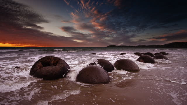 SLOW MOTION: Moeraki Boulders New Zealand video