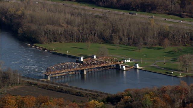 Mohawk River And Canal Near Fonda - Aerial View - New York,  Montgomery County,  United States video