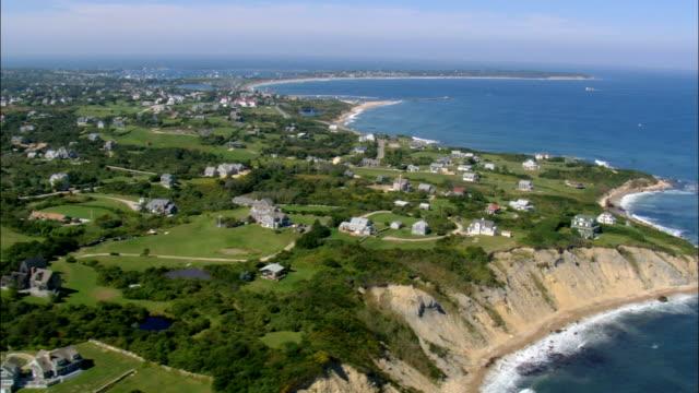 Mohegan Bluffs Houses  - Aerial View - Rhode Island, Washington County, United States video
