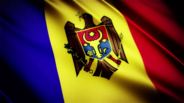 Moldova realistic national flag seamless looped waving animation video