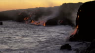 Molten Kilauea Lava Pouring into Ocean Sunset video