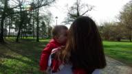 Mom and baby spinning around,having fun video