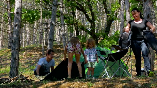 Mom and Dad collected a tent. Kids in the woods video