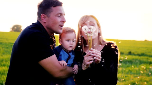 Mom and Dad play with one year son. Together blowing on a dandelion. Slow motion video