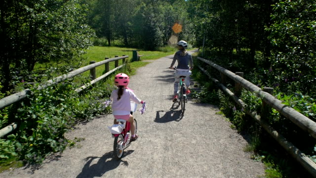 Mom and Daughter Ride Bicycles in the Park video