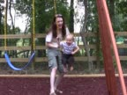 Mom pushes son on swing 2 PAL video