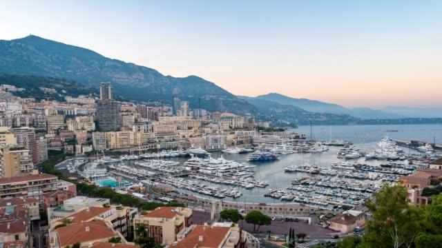 Monaco Ville city skyline day to night timelapse, Monte Carlo, Monaco, 4K Time lapse video