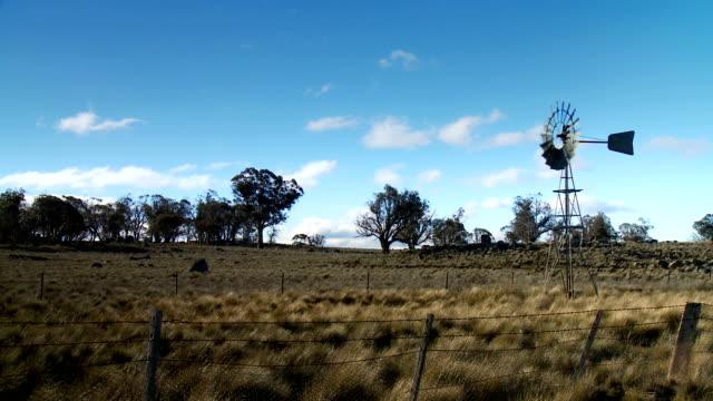 Monaro Region, Dry Farmland, Windmill, Australia video