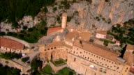 Monastery of St. Benedict in Subiaco - Aerial View - Latium, Rome, Italy video