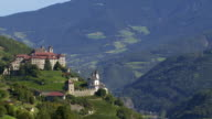 Monastery on a Mountain Rock in South Tyrol PAN video