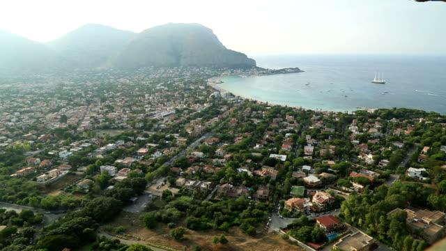 Mondello beach areal view video