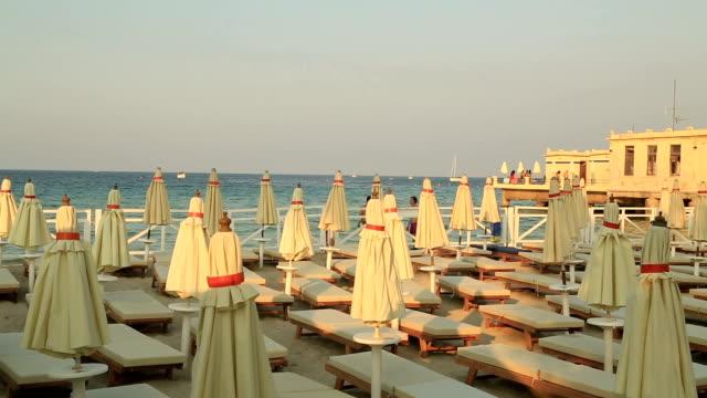 Mondello beach Pier in Palermo Sicily Italy video