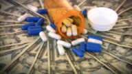 Money and medicine. Medical expenses. Dollars, cash, drugs, pills. video