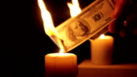 Money dollars burn video