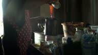 Monger making hot tea in thai style. video