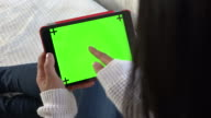 Monitor Green Screen Background Of Ipad Digital Tablet For Internet video