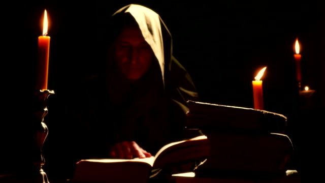 Monk at the Monastery with the Old Liturgical Books video