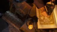 HD CRANE: Monk Drawing A Sacred Image video