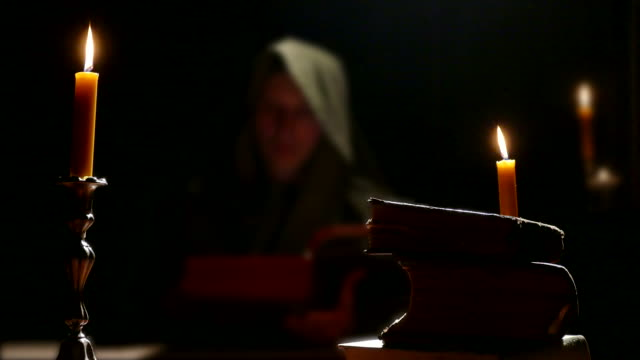 Monk Studying Old Religious Books video