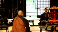 Monks Praying in a Buddhist Temple video