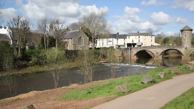 Monmouth Wales uk Monnow Bridge tourist attraction Wye valley pan video