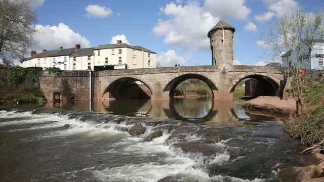 Monnow Bridge Monmouth Wales uk tourist attraction Wye valley pan video