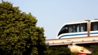 Monorail train goes against trees video