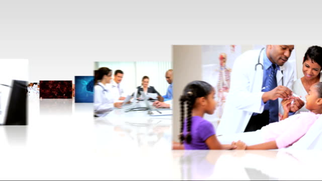 Montage 3D fly through medical consultants and patients video