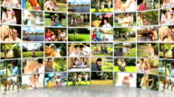 Montage 3D images of Caucasian family video