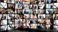 Montage 3D of Multi Ethnic business people achieving success video