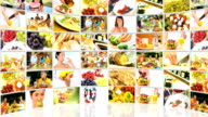 Montage 3D tablet images of family eating healthy video