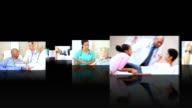 Montage 3D tablet images showing multi ethnic medical professionals video