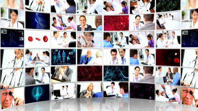 Montage 3D video wall  images of medical consultants and patients video