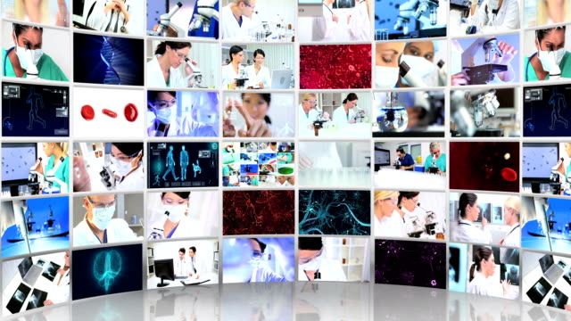Montage 3D video wall inside  technical laboratory video