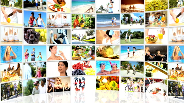 Montage 3D video wall of fitness images and healthy eating video