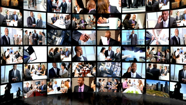 Montage 3D view featuring successful groups of business people video