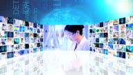 3D montage Asian Caucasian medical researchers working laboratory video