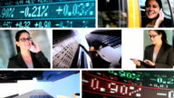 Montage business people trading in stocks and Shares video