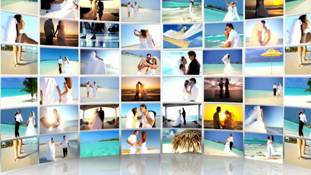 Montage Caucasian Couple Tropical Beach Wedding and Honeymoon video