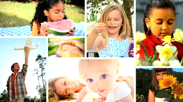 Montage Children Playing Outdoors video