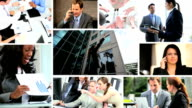 Montage city financial view Multi ethnic communication managers video