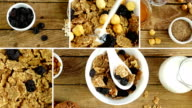 Montage collection of clips showing breakfast scene - cereal, dried fruits, nuts and milk video